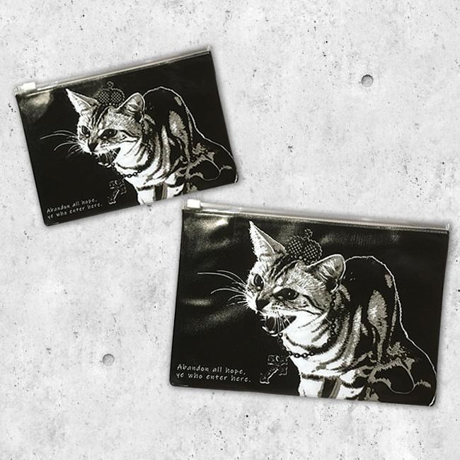 【ルナティックキャットイズム】[クリアポーチ]シャーという猫-PUNK-CAT S・Mサイズ
