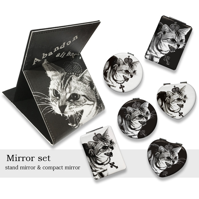 【ルナティックキャットイズム】[ミラーセット]シャーという猫-PUNK-CAT スタンド&コンパクト3サイズ[PUレザー]