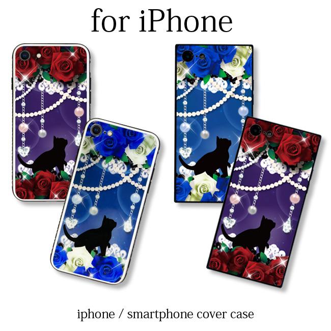 【ルナティックキャットイズム】[強化ガラススマホケース]薔薇と黒猫-ROSE 赤薔薇・青薔薇2種[iPhone]item_image_1