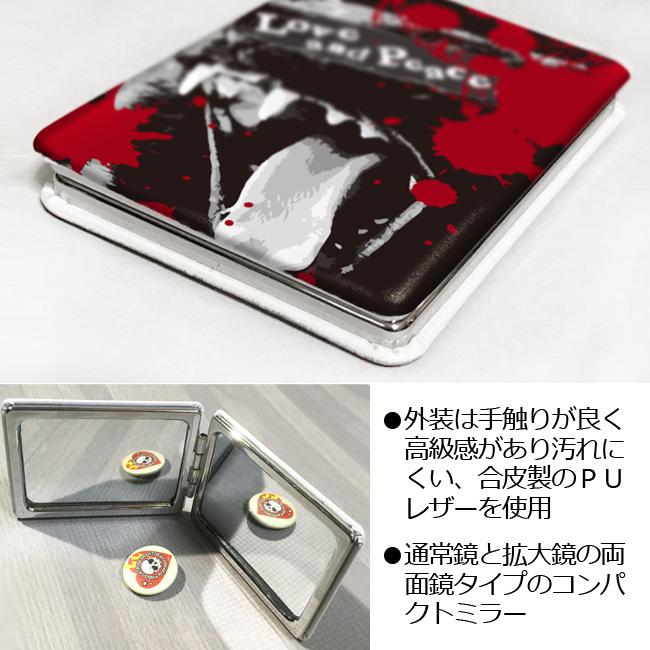 【ルナティックキャットイズム】[コンパクトミラー]血飛沫と黒猫-SCREAM-CAT 3サイズ[PUレザー]item_image_2