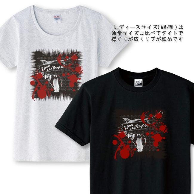 【ルナティックキャットイズム】[半袖Tシャツ]Love and Piece…血飛沫と黒猫 NEKO-T [メンズ/レディース/キッズサイズあり]item_image_2
