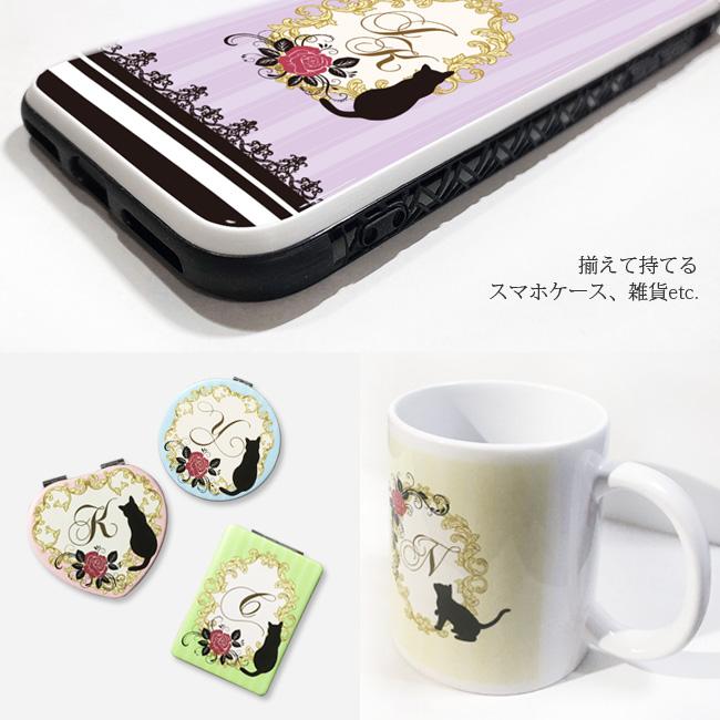 【ルナティックキャットイズム】[猫のスマホケース]Rose & Cat silhouette INITIAL-背景あり 猫 薔薇 イニシャル[iPhone/Android]item_image_8