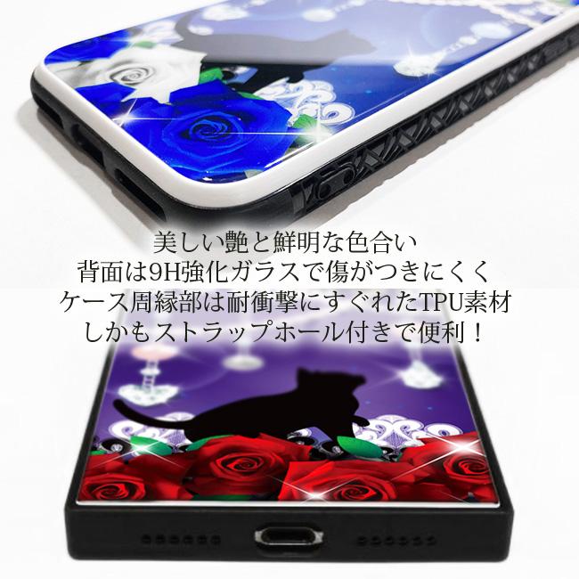 【ルナティックキャットイズム】[強化ガラススマホケース]薔薇と黒猫-ROSE 赤薔薇・青薔薇2種[iPhone]item_image_4