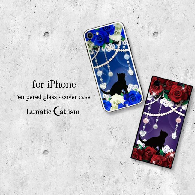 【ルナティックキャットイズム】[強化ガラススマホケース]薔薇と黒猫-ROSEクラシカルな赤薔薇・青薔薇2種[iPhone]