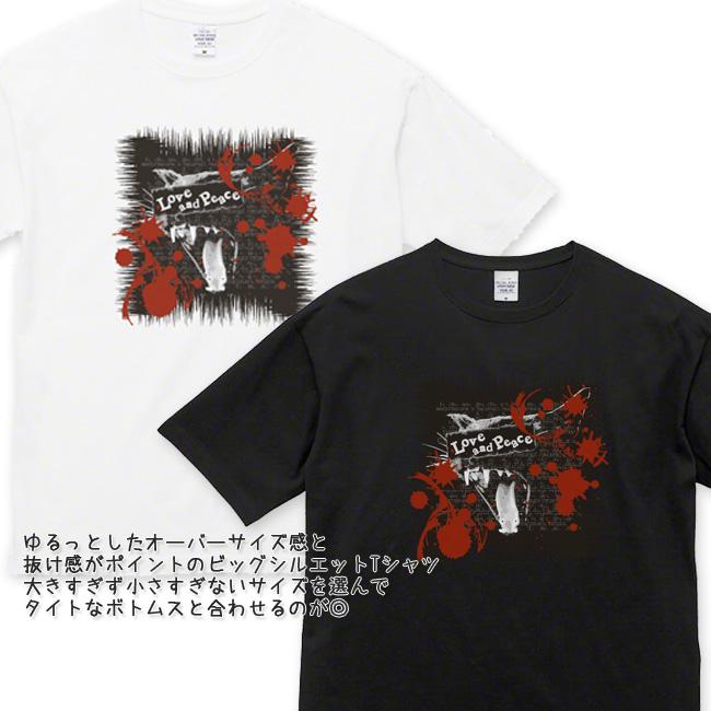 【ルナティックキャットイズム】[半袖Tシャツ|ビッグシルエット]Love and Piece…血飛沫と黒猫 NEKO-T [オーバーサイズ]item_image_2
