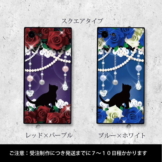 【ルナティックキャットイズム】[強化ガラススマホケース]薔薇と黒猫-ROSEクラシカルな赤薔薇・青薔薇2種[iPhone]item_image_3