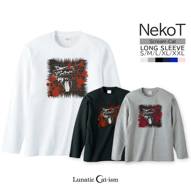【ルナティックキャットイズム】[長袖Tシャツ]Love and Piece…血飛沫と黒猫 NEKO-T [ロングスリーブ]item_image_1