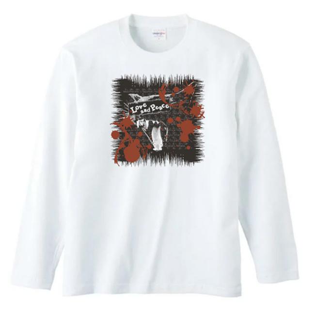 【ルナティックキャットイズム】[長袖Tシャツ]Love and Piece…血飛沫と黒猫 NEKO-T [ロングスリーブ]item_image_2