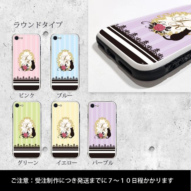 【ルナティックキャットイズム】[強化ガラススマホケース]イニシャルデザイン-薔薇と黒猫5色[iPhone]item_image_2
