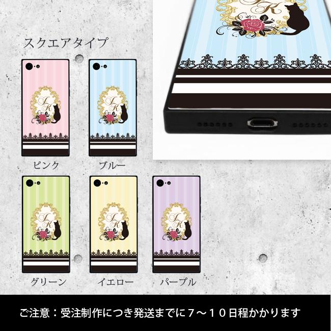 【ルナティックキャットイズム】[強化ガラススマホケース]イニシャルデザイン-薔薇と黒猫5色[iPhone]item_image_3