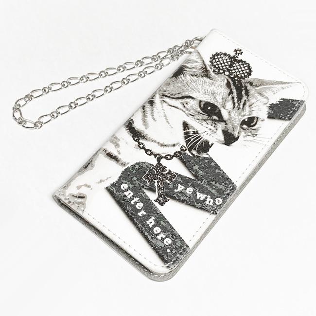 【ルナティックキャットイズム】[手帳型スマホケース]シャーという猫-PUNK-CAT:ホワイト[ほぼ全機種対応]item_image_7