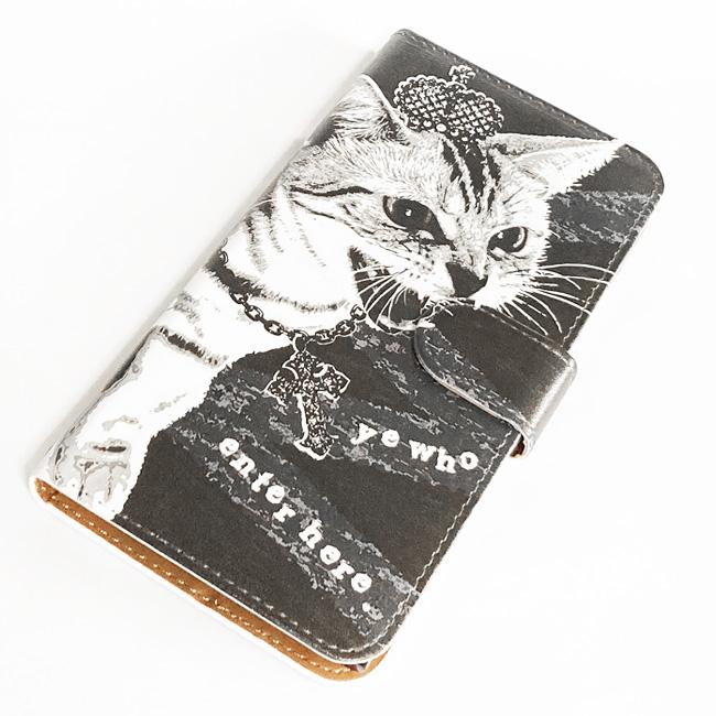 【ルナティックキャットイズム】[手帳型スマホケース]シャーという猫-PUNK-CAT:ブラック[ほぼ全機種対応]item_image_7