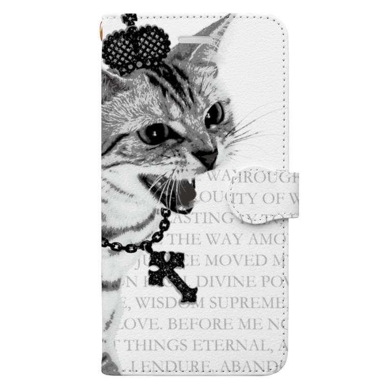 【ルナティックキャットイズム】【SUZURI限定】[手帳型スマホケース]シャーという猫-PUNK-CAT[iPhone]