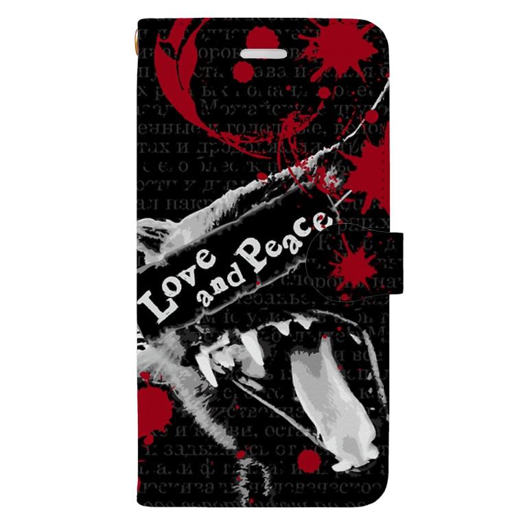 【ルナティックキャットイズム】【SUZURI限定】[手帳型スマホケース]Love and Piece[iPhone]